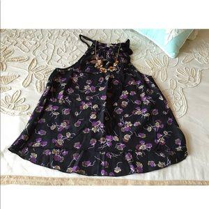 Free People XS boho floral tank top tunic ties